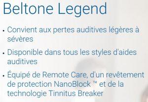 Listes des caractéristiques du Beltone Legend 1763