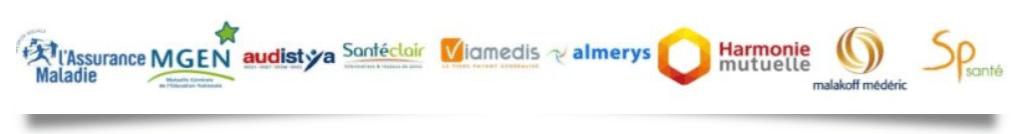 Logos principales mutuelles nationales Viamédis mgen Audistya Santéclair Harmonie Almerys Sp Santé